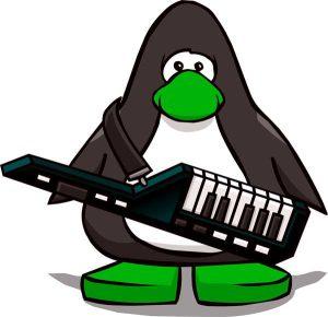 Tux tocando un keytar