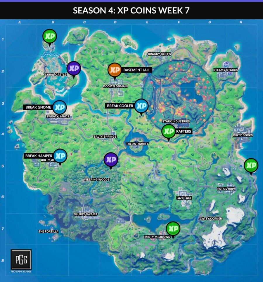 Mapas de monedas XP para Fortnite Capítulo 2: Temporada 4 Semana 7