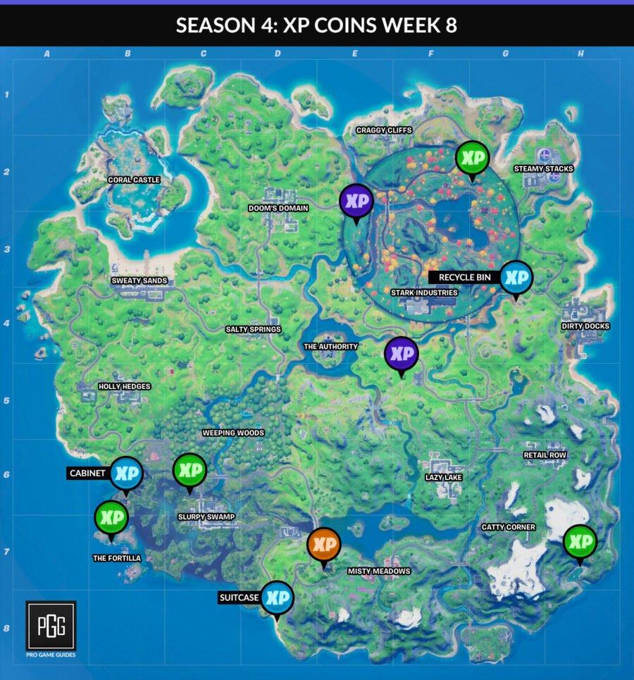 Mapas de monedas XP para Fortnite Capítulo 2: Temporada 4 Semana 8