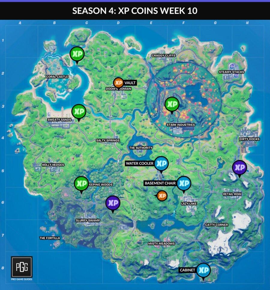 Fortnite Capítulo 2 Temporada 4 semana 10 mapa de monedas xp