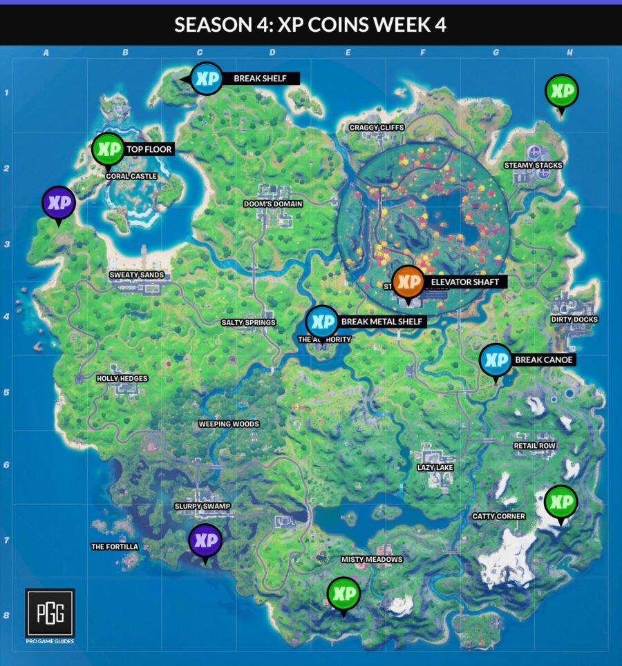 Fortnite Capítulo 2 Temporada 4 Semana 4 Mapa de monedas XP