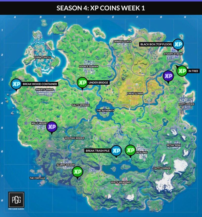 Mapa de monedas de Fortnite XP para el Capítulo 2, Temporada 4, Semana 1