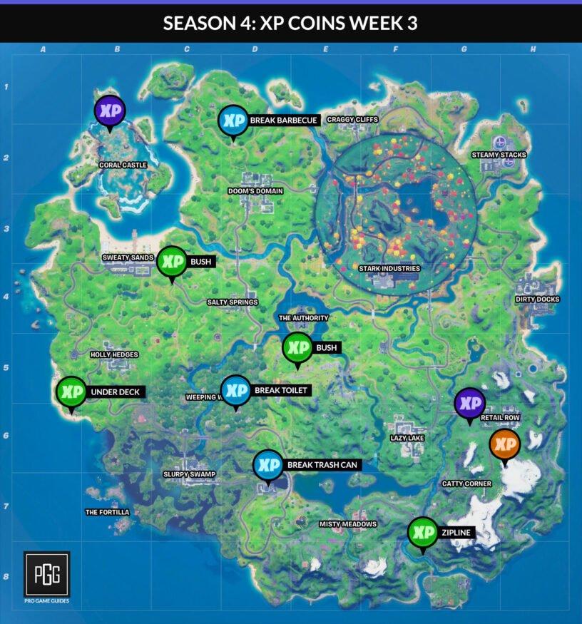 Mapa de monedas de Fortnite XP para el Capítulo 2 Temporada 4 Semana 3