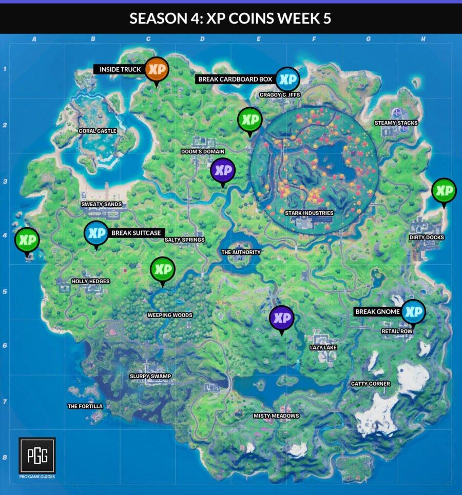 Fortnite Capítulo 2 Temporada 4 Semana 5 Mapa de monedas XP