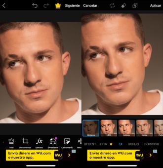 La aplicación abre una serie de opciones para editar la foto.