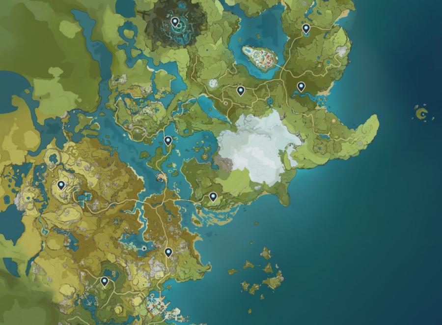 Una captura de pantalla del mapa en Genshin Impact, que muestra las imágenes de las Estatuas de los Siete.