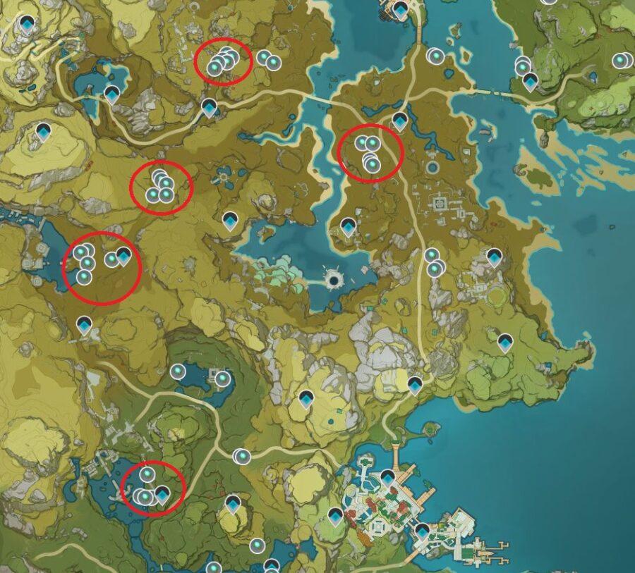 Una captura de pantalla del mapa de impacto de Genshin para la ubicación de dónde encontrar Luminescent Spine