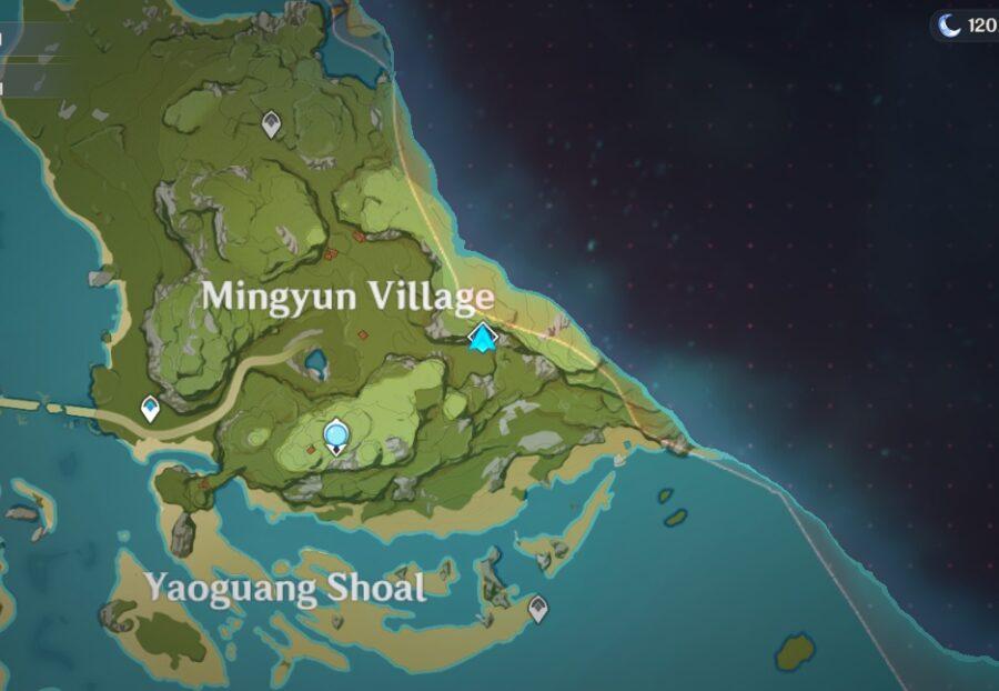 Una captura de pantalla del mapa de Genshin Impacts que muestra la ubicación del Dominio Abisal de la Fórmula del Palacio Escondido de Lianshan