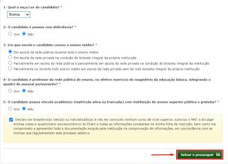 Cuestionario ProUni.  Foto: Printscreen.