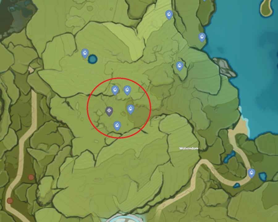 Una imagen del mapa de Genshin Impacts que muestra la ubicación de Cecilia Garden y la ubicación de Seelies para resolver el rompecabezas