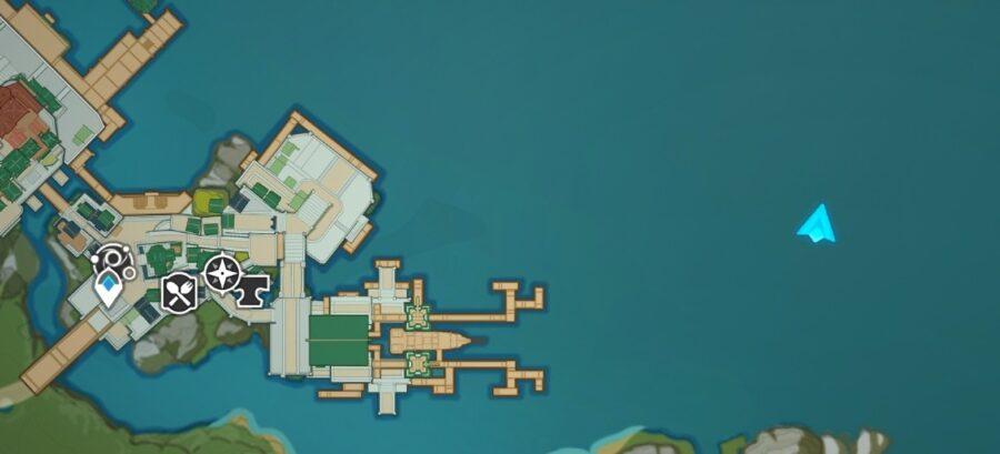 Una imagen del mapa de Genshin Impasctyt, mostrando la ubicación de Pearl Galley frente a la costa del puerto de Liyue