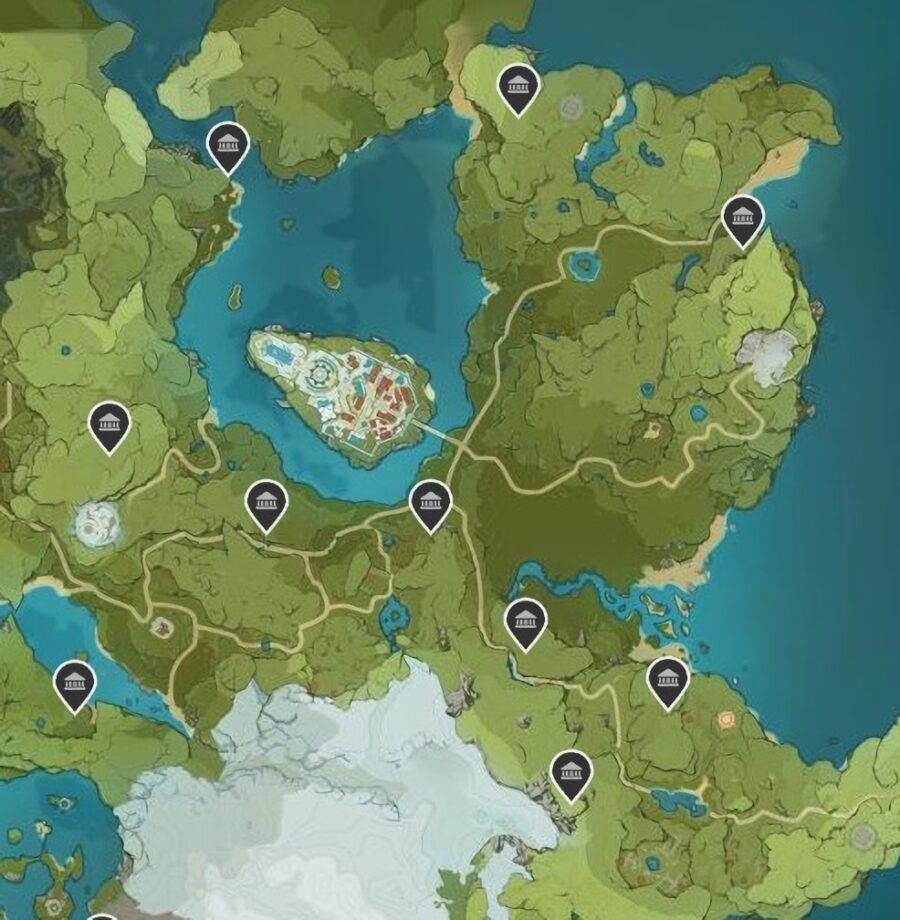 Una captura de pantalla del mapa en Genshin Impact que muestra las ubicaciones del Santuario de las Profundidades en Mondstadt