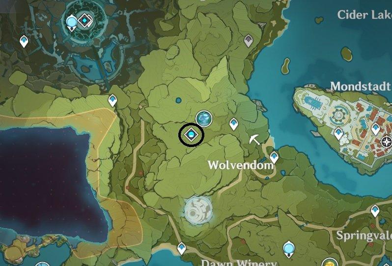 Una captura de pantalla del mapa de Genshin Impacts que muestra la ubicación del Dominio Abisal del Jardín Celicia