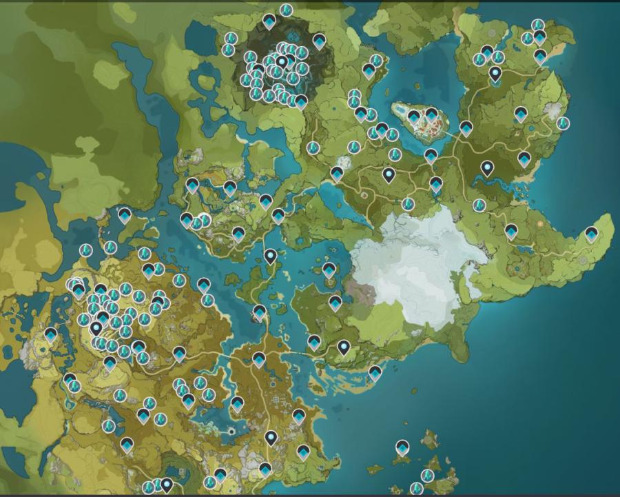 Una captura de pantalla del mapa de Genshin Impact que muestra las ubicaciones de Crystal Chunks