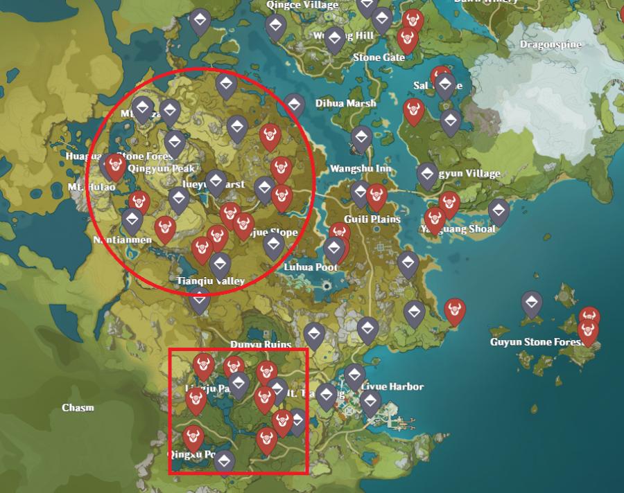 Una imagen del mapa de impacto de Genshin, que muestra las ubicaciones de los magos del abismo para obtener los materiales de Dead Ley Line