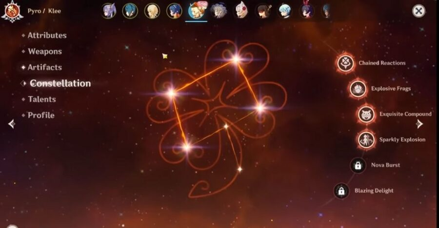 Constelación de Klee en Genshin Impact