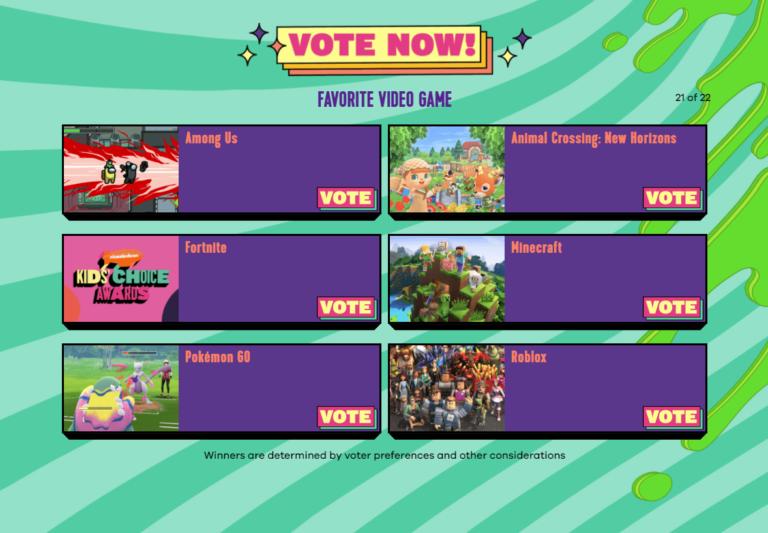 ¡Puedes votar por Roblox en los Kids Choice Awards 2021!