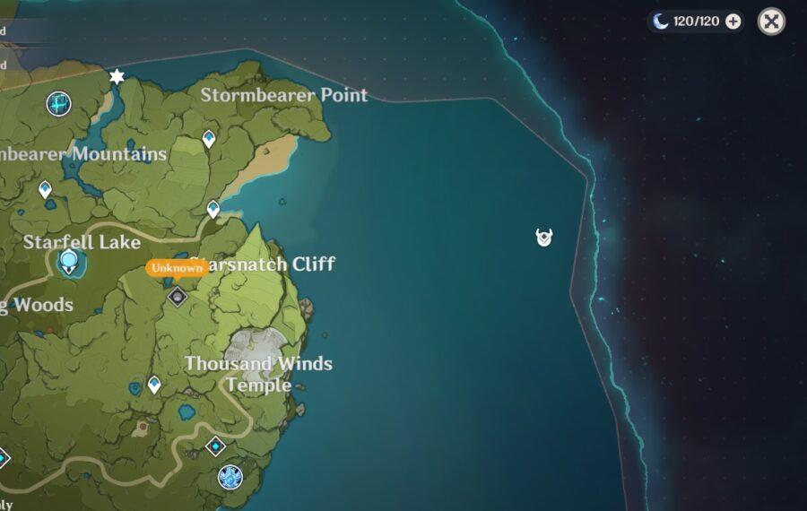 Una captura de pantalla del mapa de Genshin Impact que muestra la ubicación de un cofre oculto.