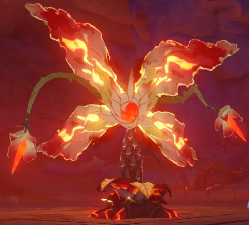 Una captura de pantalla de Elite Boss Pyro Regisvine en Genshin Impact