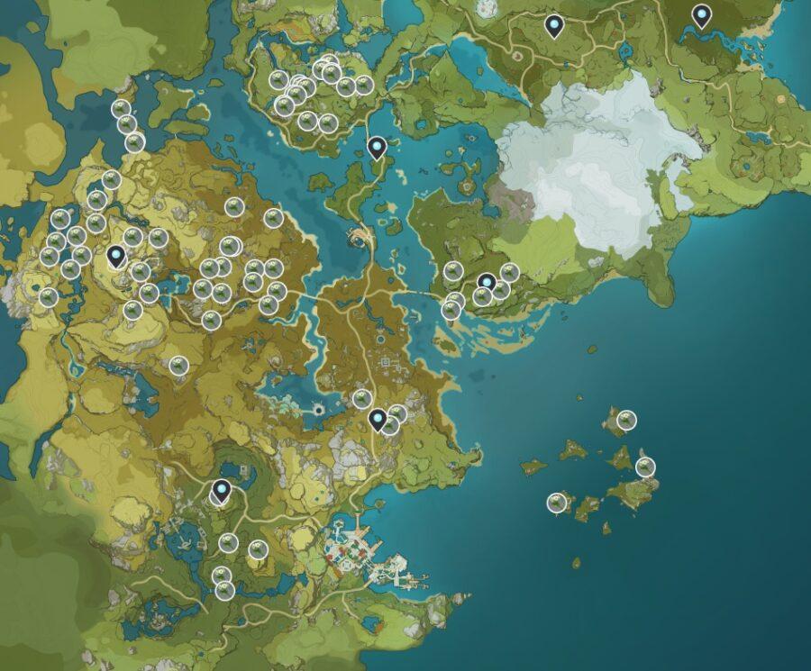 Una captura de pantalla de dónde encontrar Qingxin en Genshin Impact.