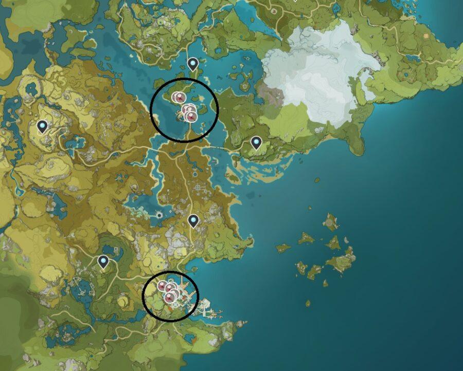 Una captura de pantalla de dónde encontrar Silk Flower en Genshin Impact.