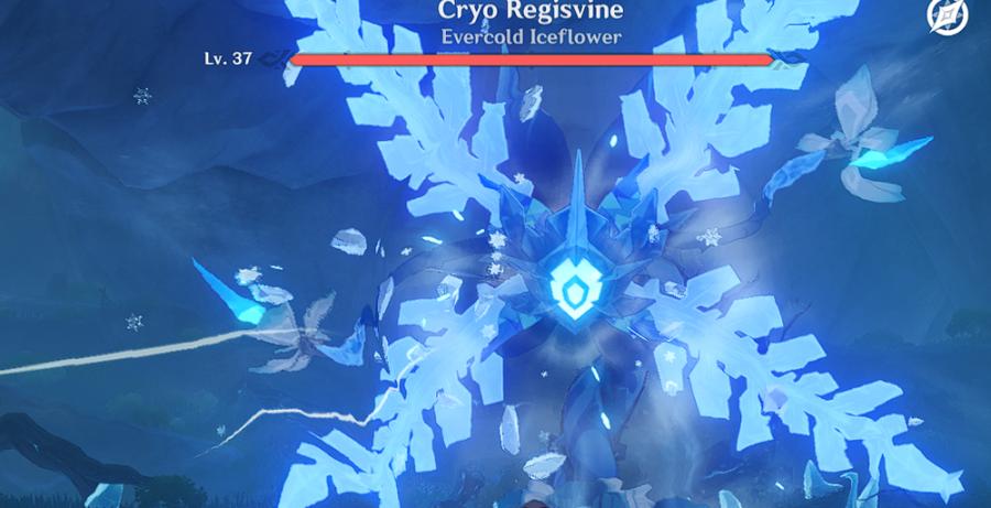 Una captura de pantalla de Elite Boss Cryo Regisvine en Genshin Impact.