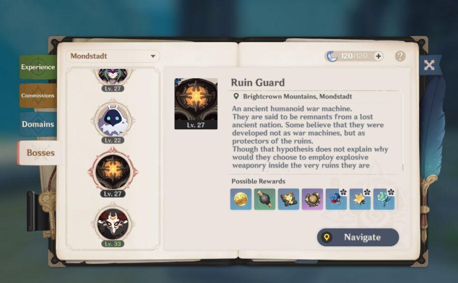 Una captura de pantalla del Manual de aventuras, mostrando la pestaña Jefes.