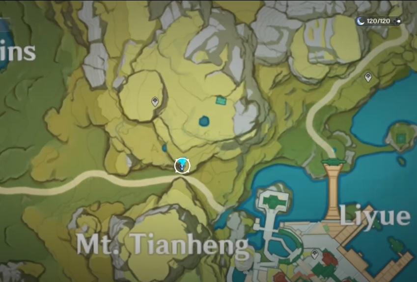 Una captura de pantalla del mapa en Genshin Impact, que muestra la ubicación del dador de misiones Childish Jiang