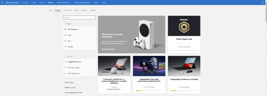 Página de canje de Robux gratis de Roblox Microsoft Rewards