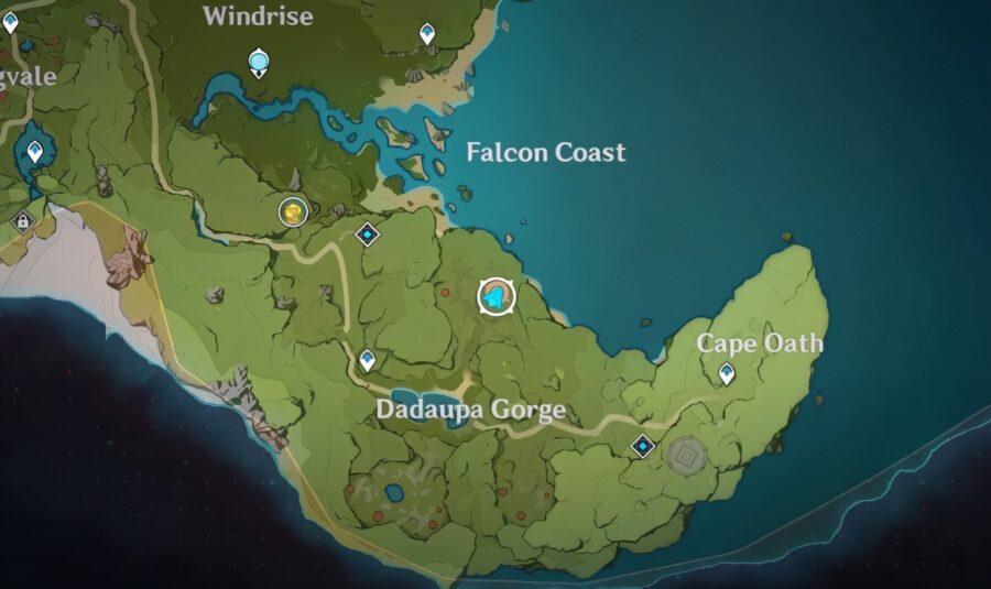 Una captura de pantalla de dónde está el primer sello en Genshin Impact