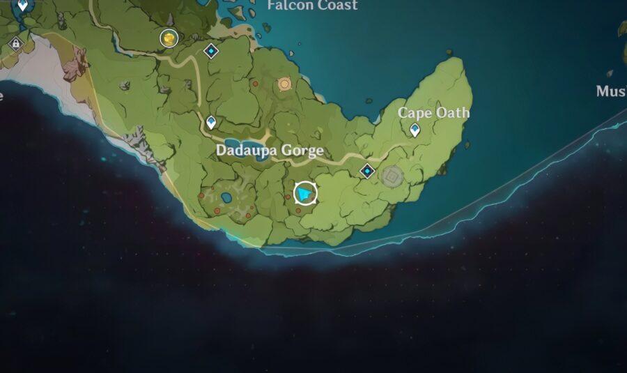 Una captura de pantalla de la ubicación del tercer sello en Genshin Impact