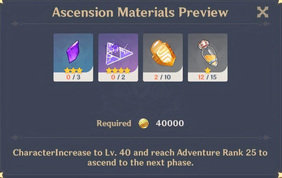 Una captura de pantalla de los materiales necesarios para una Ascensión de nivel 40 en Genshin Impact