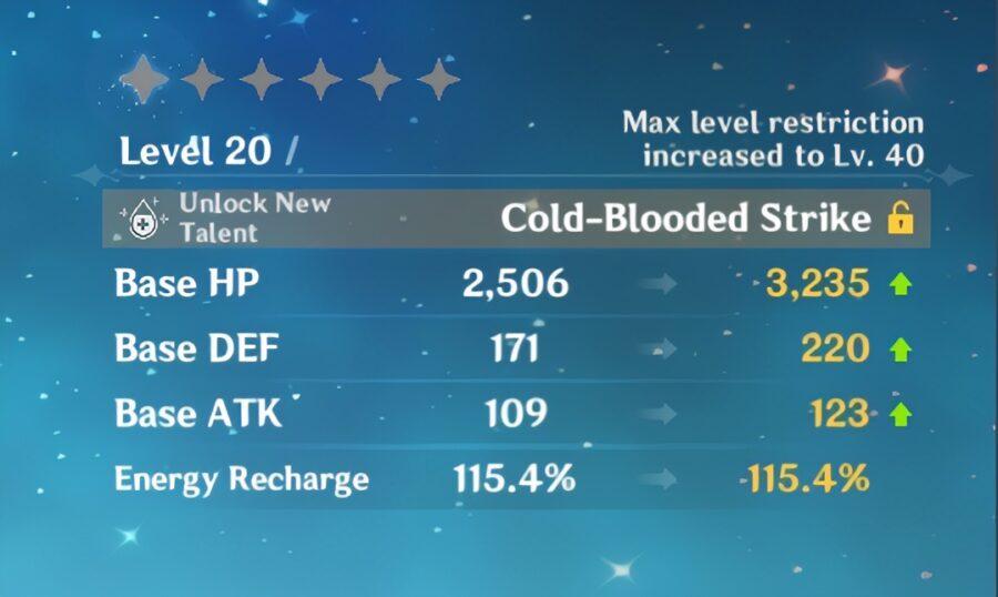 Una captura de pantalla de las estadísticas mejoradas de ascensión del personaje en Genshin Impact