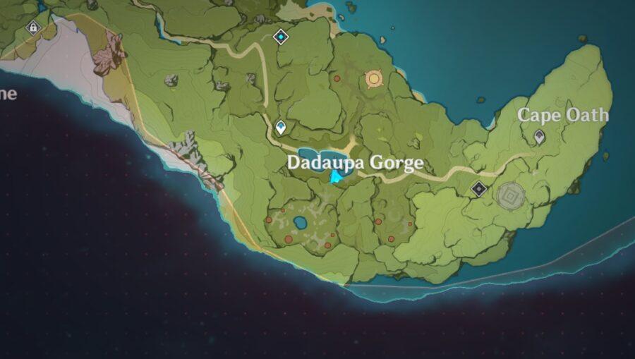 Una captura de pantalla del mapa de impacto de Genshin indicó dónde se encuentra Daduapa Gorge