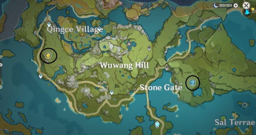 Una captura de pantalla del mapa en Genshin Impact, que muestra la ubicación de las Líneas Ley