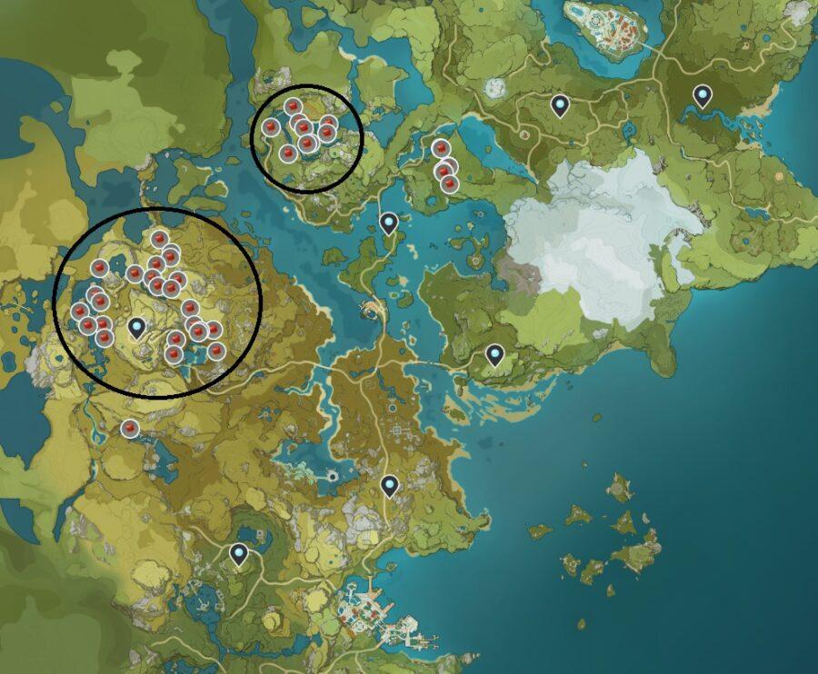 Una captura de pantalla de dónde encontrar a Jueyun Chilles en Genshin Impact.