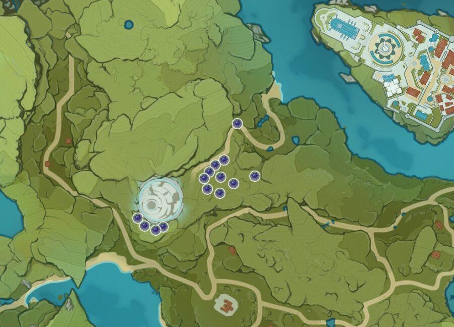 Una captura de pantalla de dónde encontrar Wolfhook en Genshin Impact.