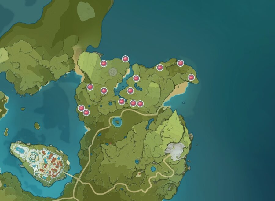 Una captura de pantalla de dónde encontrar Valberry en Genshin Impact.