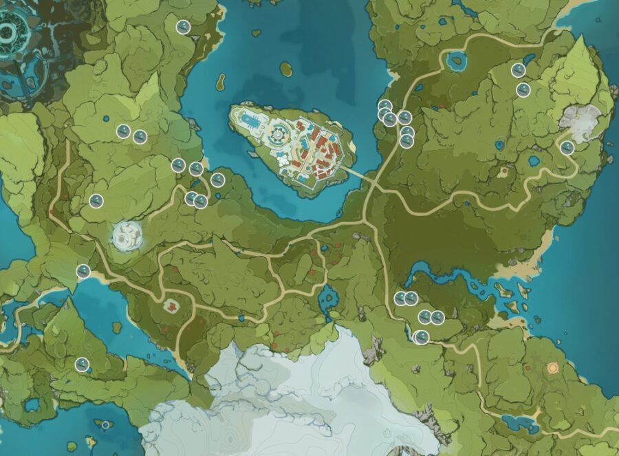 Una captura de pantalla de dónde encontrar Small Lamp Grass en Genshin Impact.