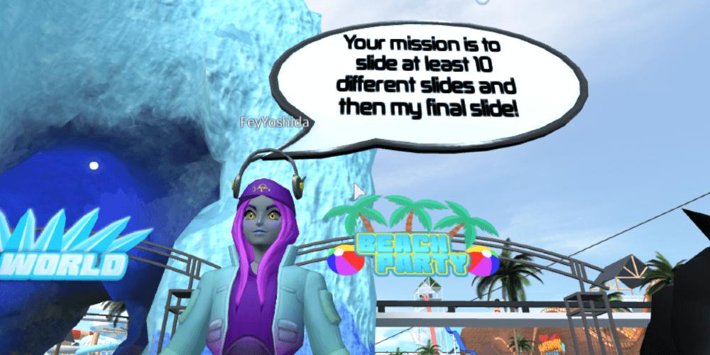 Fey está lanzando un desafío en el parque acuático oceánico.