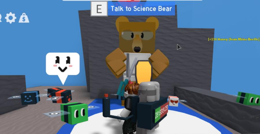 Science Bear en Roblox Bee Swarm Simulator.